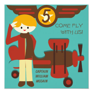 "Blond Boy Pilot Birthday Invitations 5.25"" Square Invitation Card"