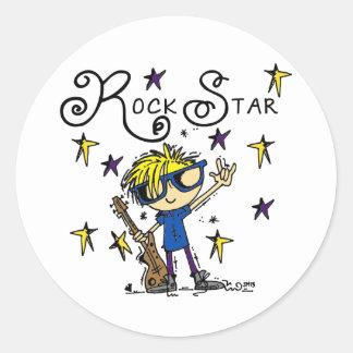Blond Boy Rock Star Classic Round Sticker