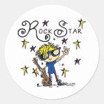 Blond Boy Rock Star Round Stickers