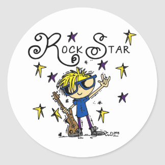 Blond Boy Rock Star Round Stickers
