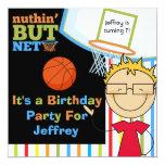 Blond  Boy w. Glasses Basketball Birthday Invite