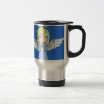 Blond Cartoon Angel Travel Mug