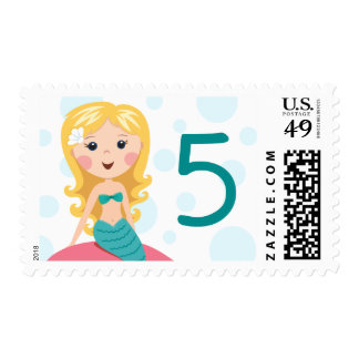 Blond cartoon mermaid cutomizable age birthday postage