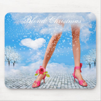 Blond Christmas Mouse Pads