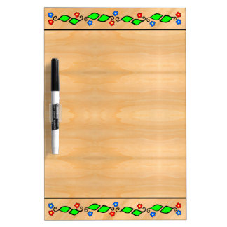 Blond Faux Wood Grain with Leafy Green Border Dry Erase Board