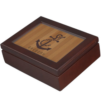 Blond Faux Wood Stripes Nautical Anchor Keepsake Box