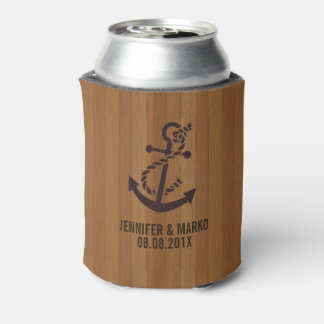 Blond Faux Wood Stripes Nautical Anchor Can Cooler