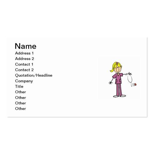 Blond Female Stick Figure Nurse Business Card