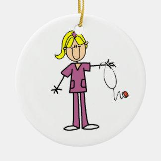 Blond Female Stick Figure Nurse Ceramic Ornament