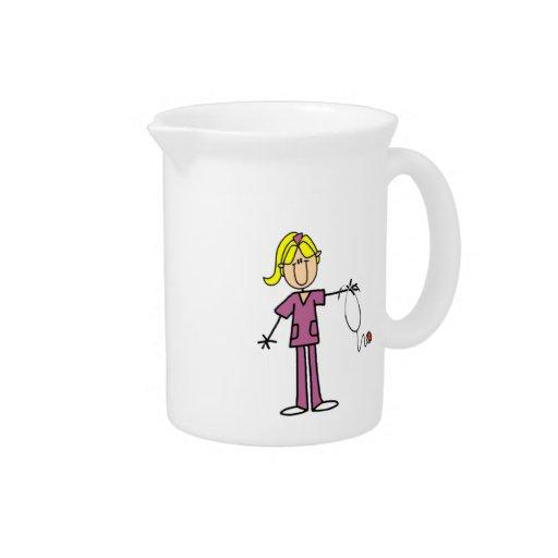 Blond Female Stick Figure Nurse Drink Pitcher