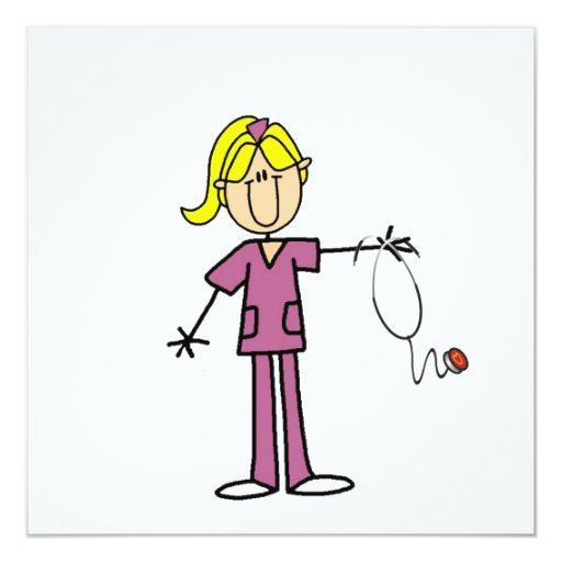 "Blond Female Stick Figure Nurse 5.25"" Square Invitation Card"