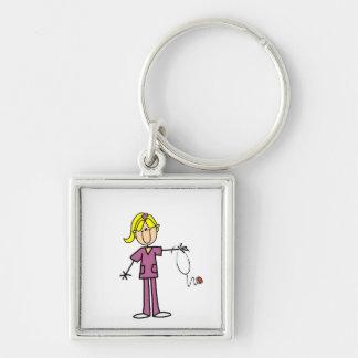 Blond Female Stick Figure Nurse Key Chain