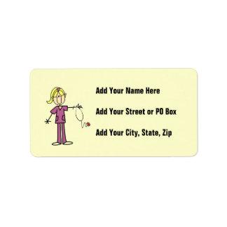 Blond Female Stick Figure Nurse Label