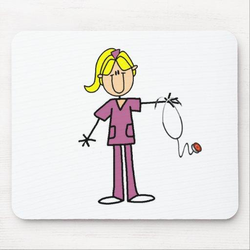 Blond Female Stick Figure Nurse Mouse Pad