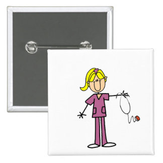 Blond Female Stick Figure Nurse Pinback Button