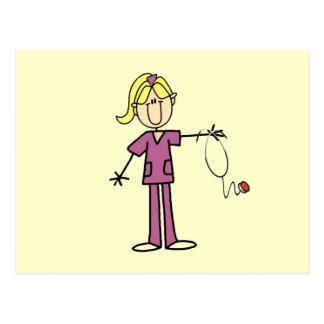 Blond Female Stick Figure Nurse Postcard