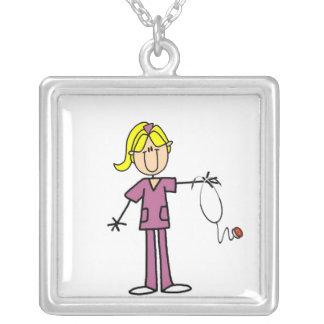 Blond Female Stick Figure Nurse Square Pendant Necklace