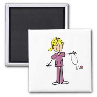 Blond Female Stick Figure Nurse T-shirts 2 Inch Square Magnet