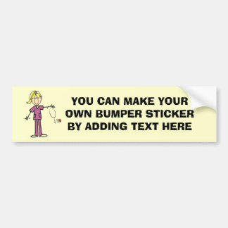 Blond Female Stick Figure Nurse T-shirts Bumper Sticker