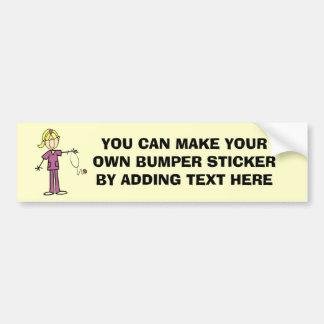Blond Female Stick Figure Nurse T-shirts Bumper Sticker