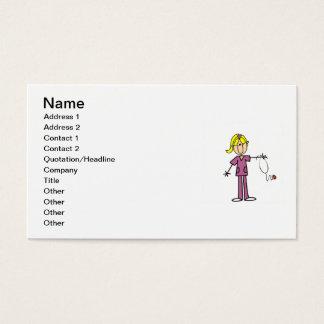 Blond Female Stick Figure Nurse T-shirts Business Card