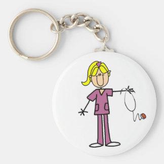 Blond Female Stick Figure Nurse T-shirts Key Chain