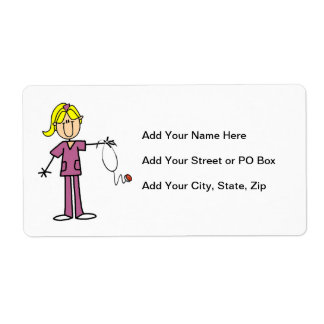 Blond Female Stick Figure Nurse T-shirts Label