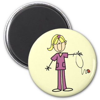 Blond Female Stick Figure Nurse T-shirts Magnet
