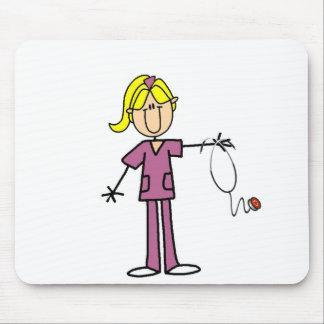 Blond Female Stick Figure Nurse T-shirts Mousepads