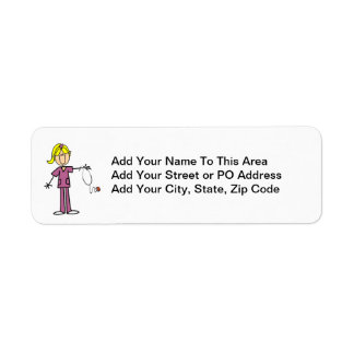 Blond Female Stick Figure Nurse T-shirts Return Address Label