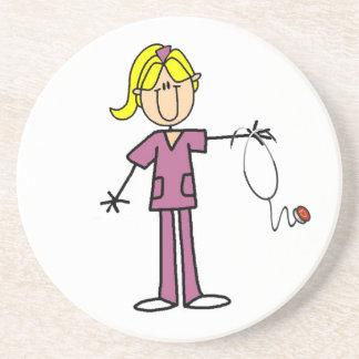 Blond Female Stick Figure Nurse T-shirts Sandstone Coaster