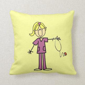 Blond Female Stick Figure Nurse Throw Pillow
