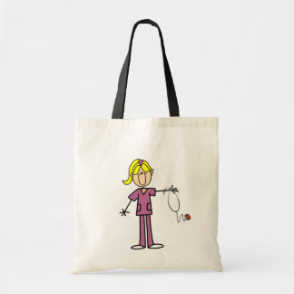 Blond Female Stick Figure Nurse Tote Bag