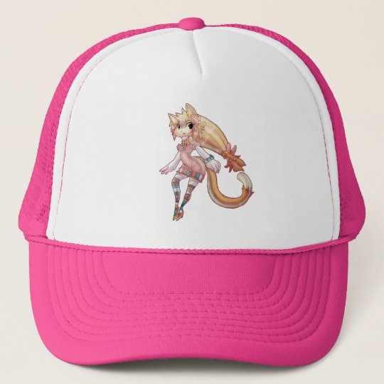 Blond Furry Cat Girl Trucker Hat