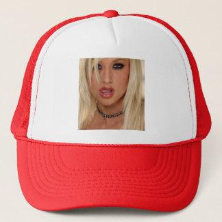 blond girl baseball cap