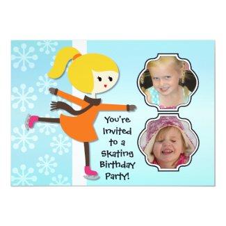 Blond Girl Birthday Skating Party Invitation