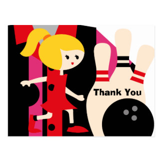 Blond Girl Bowling Birthday Thank You Postcard