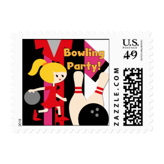 Blond Girl Bowling Party Postage Stamps