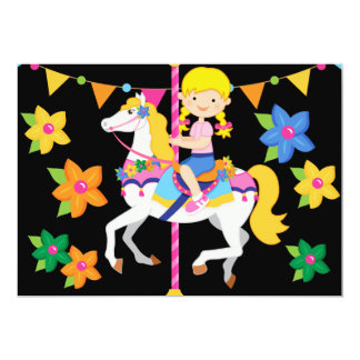 Blond Girl Carousel Birthday 5x7 Invitation