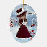 Blond Girl, Christmas, Snow Christmas Ornaments
