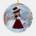 Blond Girl, Christmas, Snow Double-Sided Ceramic Round Christmas Ornament