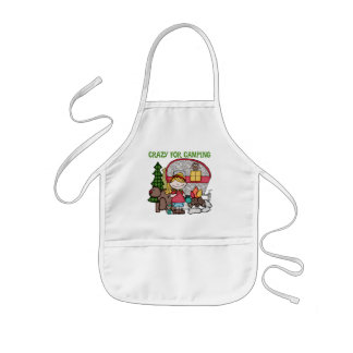 Blond Girl Crazy For Camping Kids' Apron