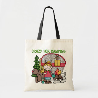 Blond Girl Crazy For Camping Tote Bags