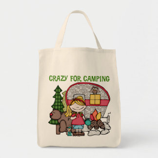 Blond Girl Crazy For Camping Canvas Bag