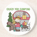 Blond Girl Crazy For Camping Drink Coaster
