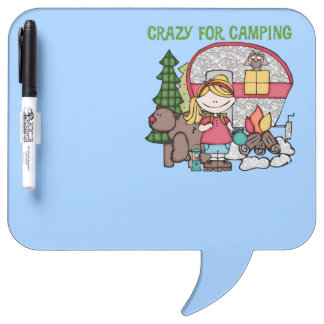 Blond Girl Crazy For Camping Dry-Erase Whiteboards