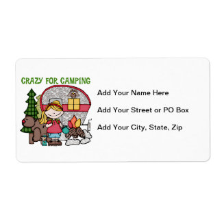 Blond Girl Crazy For Camping Shipping Label