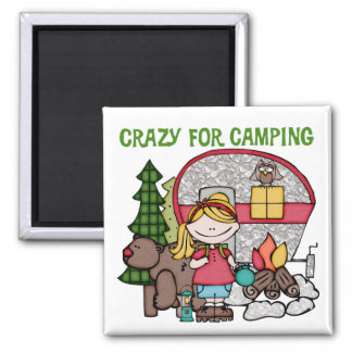 Blond Girl Crazy For Camping Refrigerator Magnet