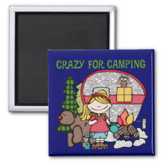 Blond Girl Crazy For Camping Magnets