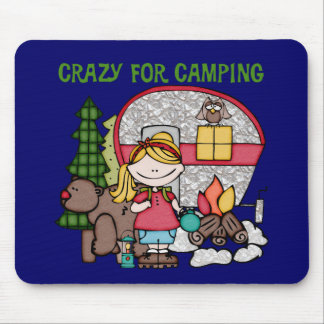 Blond Girl Crazy For Camping Mousepads